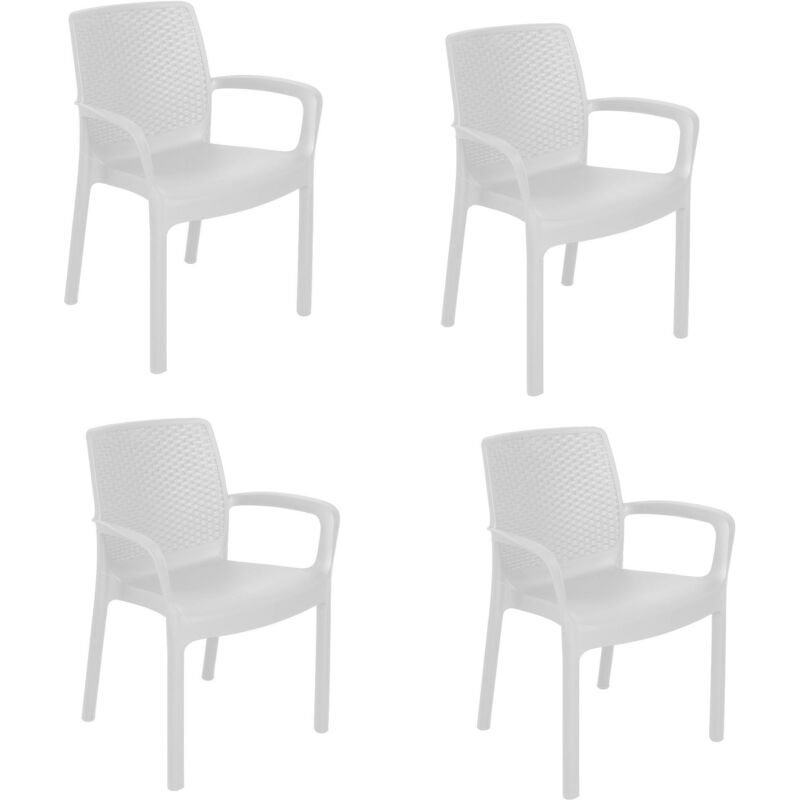 SET de 4 chaises empilables effet rotin, Made in Italy, 60x54x82, Couleur Blanc - Dmora