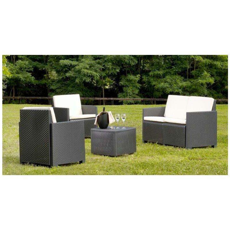 Set de jardin avec coussins, 1 canapé + 2 fauteuils (avec accoudoirs) + 1 table container d'extérieur, Made in Italy, Anthracite - Dmora