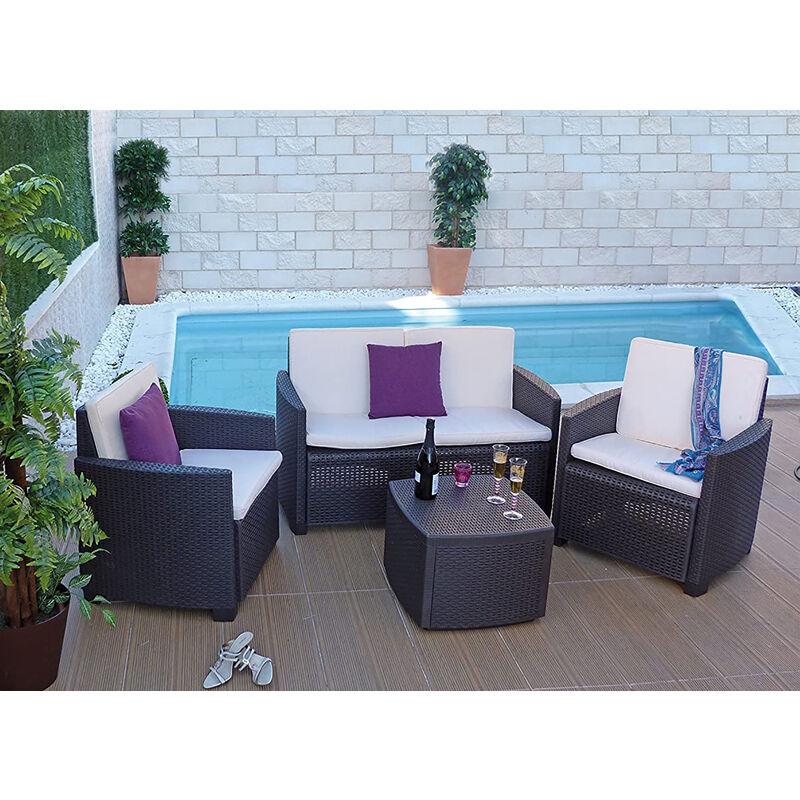Set de jardin avec coussins, 1 canapé + 2 fauteuils (avec accoudoirs) + 1 table container d'extérieur, Made in Italy, Marron - Dmora