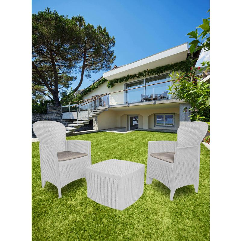 Dmora Set de jardin avec coussins, 2 fauteuils et 1 table pour bac d'extérieur, Made in Italy, Couleur Blanc