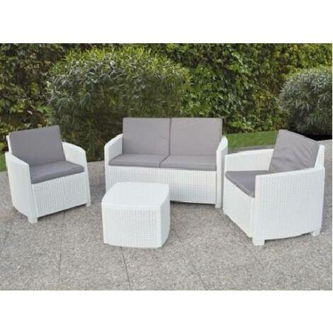 """Dmora Set de jardín \""""j\"""" con cojines, 1 sofá + 2 sillones (con apoyabrazos) + 1 mesa de almacenamiento al aire libre, Made in Italy, Color Antracita"""