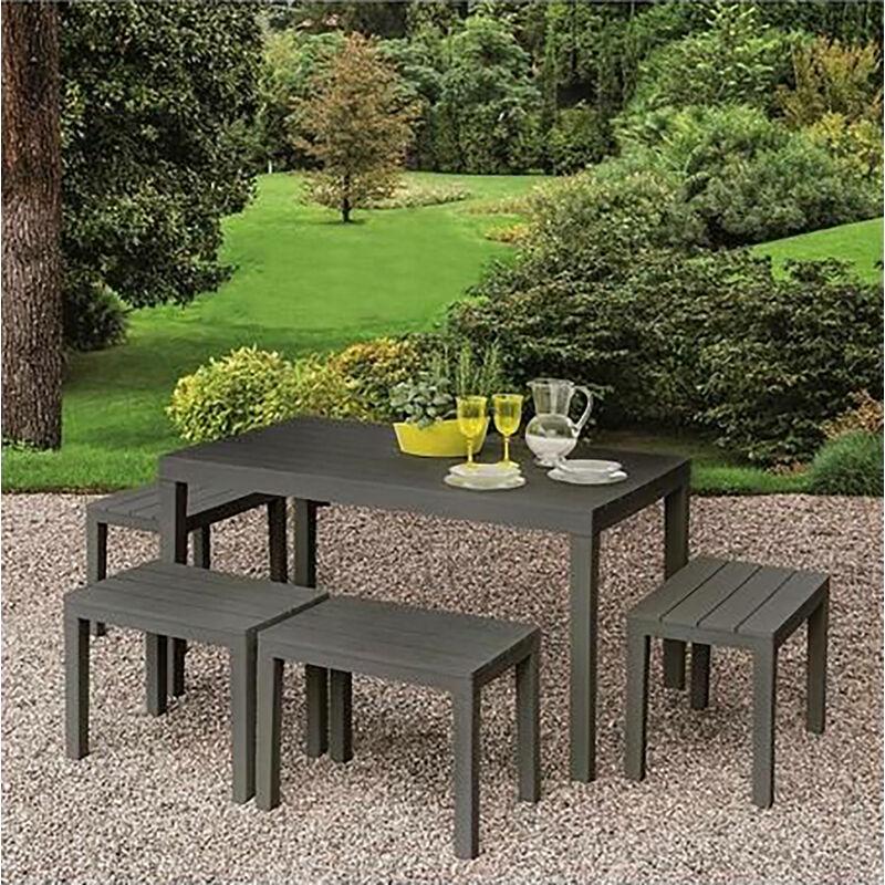 Set d'extérieur avec 1 table rectangulaire 4 bancs, Made in Italy, Couleur Anthracite - Dmora