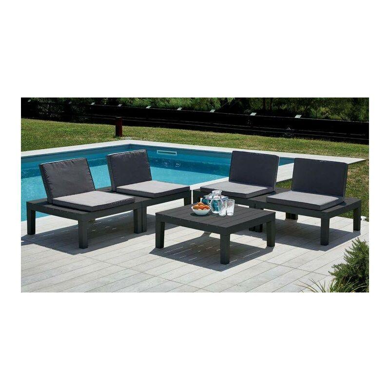 Set d'extérieur composé de 4 sièges et d'une table basse, avec coussins, Made in Italy, Couleur Anthracite - Dmora