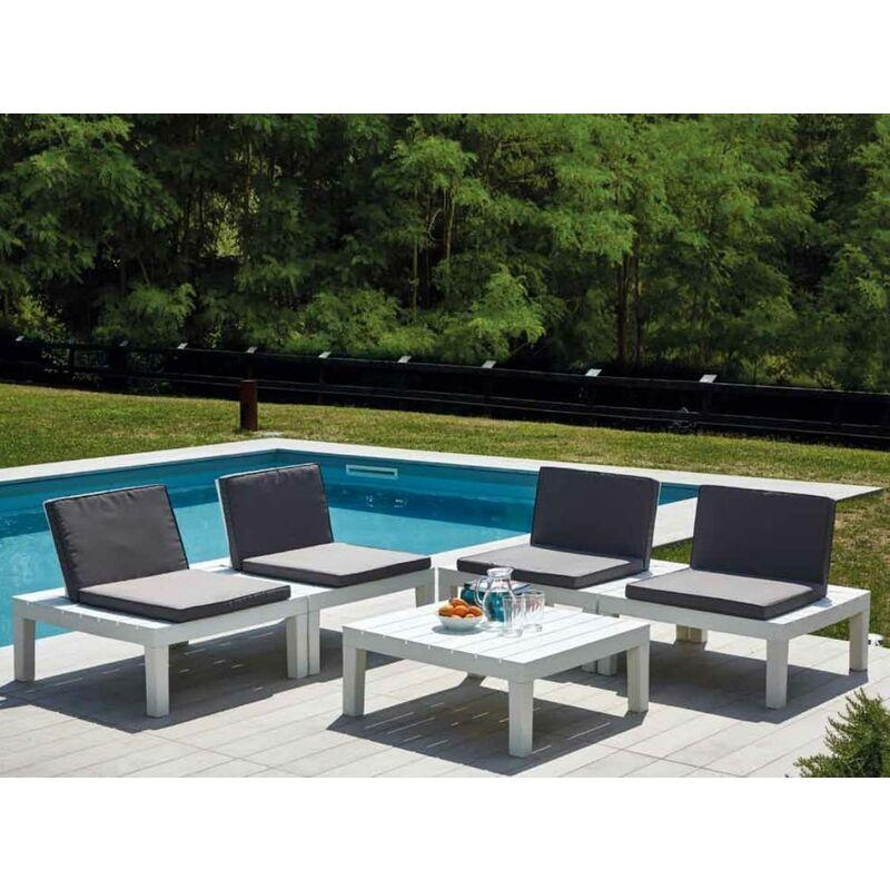 Set d'extérieur composé de 4 sièges et d'une table basse, avec coussins, Made in Italy, Couleur Blanc - Dmora