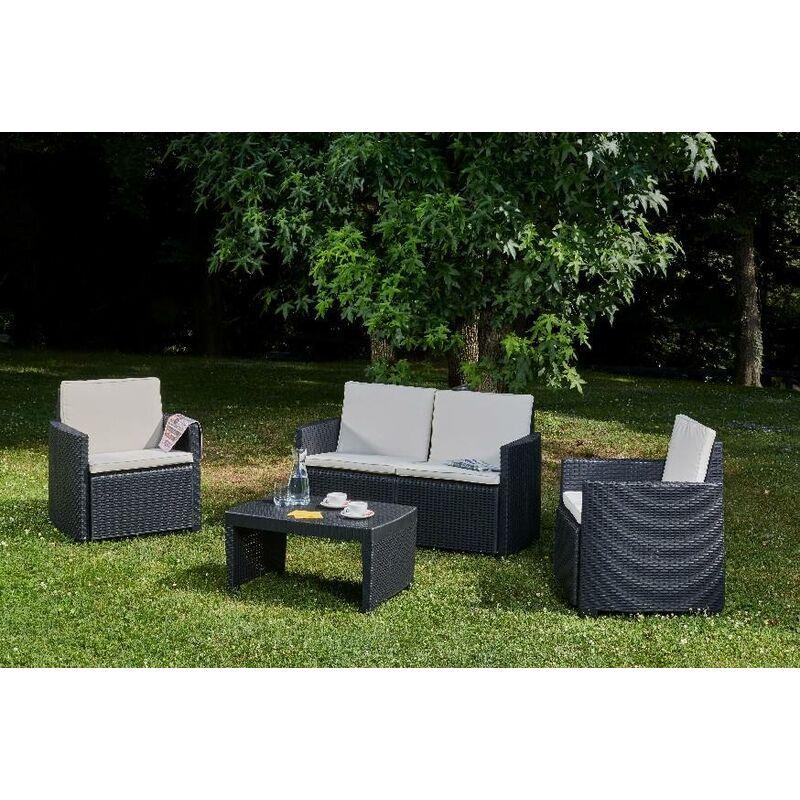 Set extérieur composé de: 2 fauteuils, 1 canapé deux places et 1 table basse, avec 8 coussins, Made in Italy, Anthracite - Dmora
