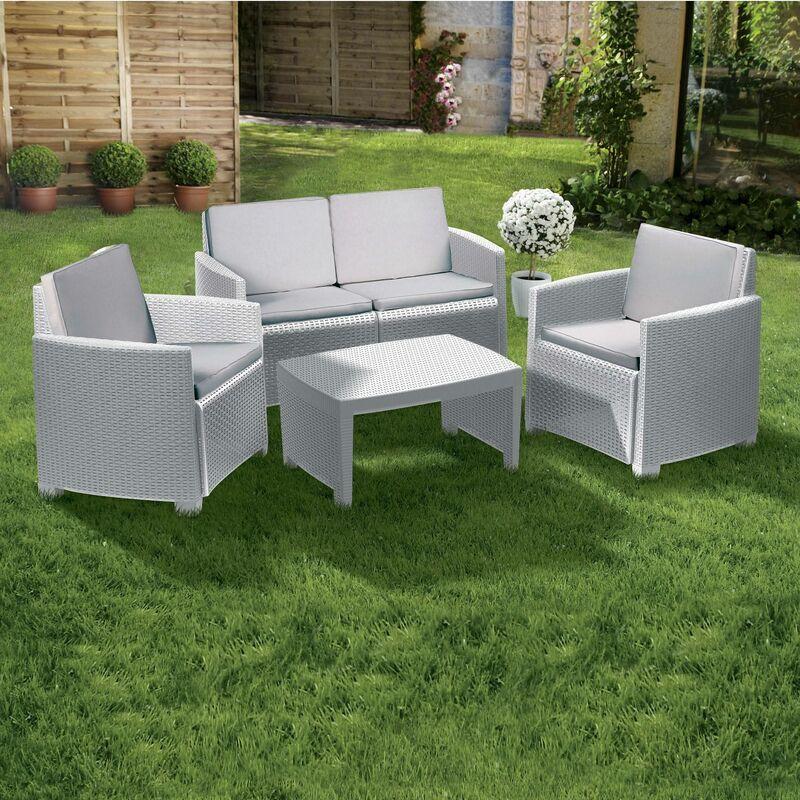 Dmora Set extérieur composé de: 2 fauteuils, 1 canapé deux places et 1 table basse, avec 8 coussins, Made in Italy, Blanc