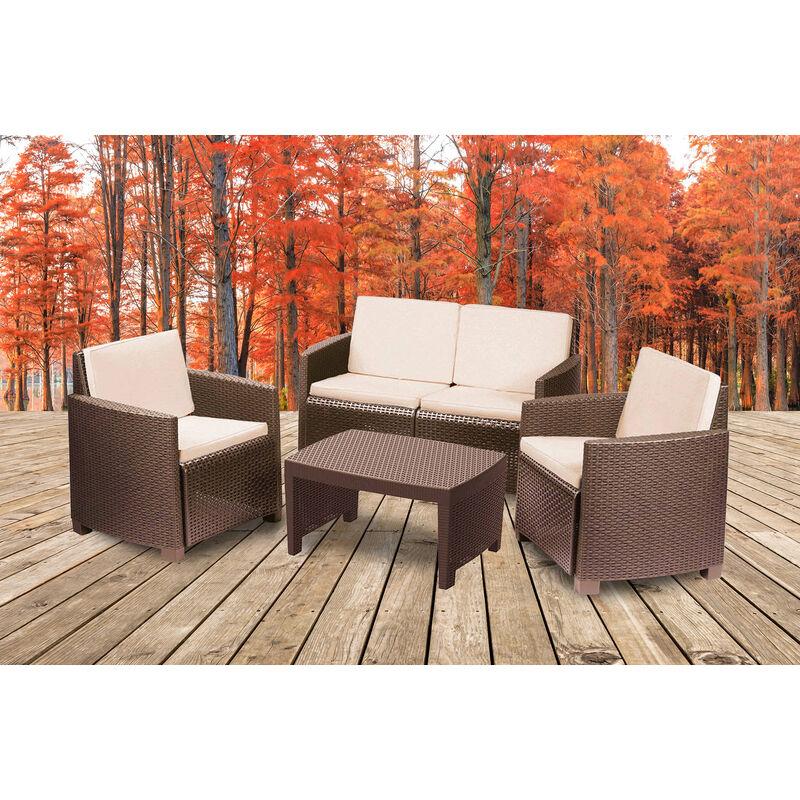 Set extérieur composé de: 2 fauteuils, 1 canapé deux places et 1 table basse, avec 8 coussins, Made in Italy, Marron - Dmora