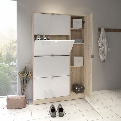 Dmora Shoe cabinet with four doors with flap and one mirror door with three internal shelves, oak and glossy white, 101 x 163 x 24 cm.