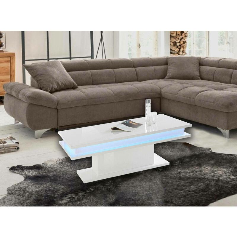 Table basse Made in Italy, Table de salon, cm 100x55h42, couleur Blanc brillant, avec lumière LED - Dmora