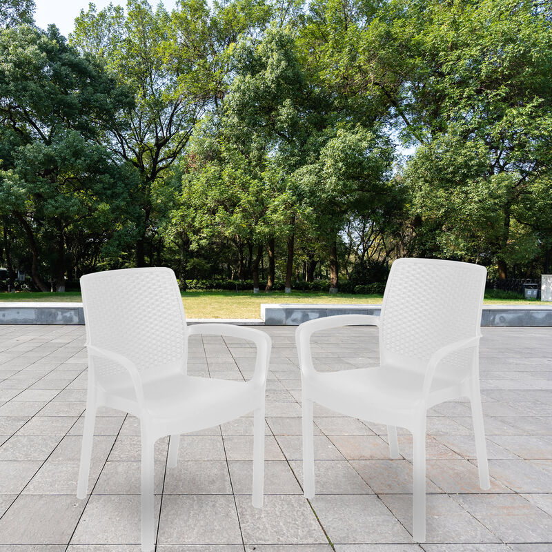 Chaise empilable effet rotin, Made in Italy, 60x54x82, Couleur Blanc - Dmora