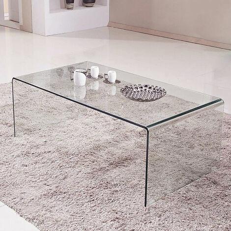 "main image of ""Dmora tavolino in vetro temperato trasparente, cm 100 x 43,5 x 48,5."""