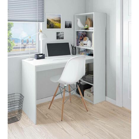 Dmora Wendbarer Schreibtisch mit Bücherregal aus fünf Regalebenen, Farbe Weiß, 120 x 144 x 53 cm.