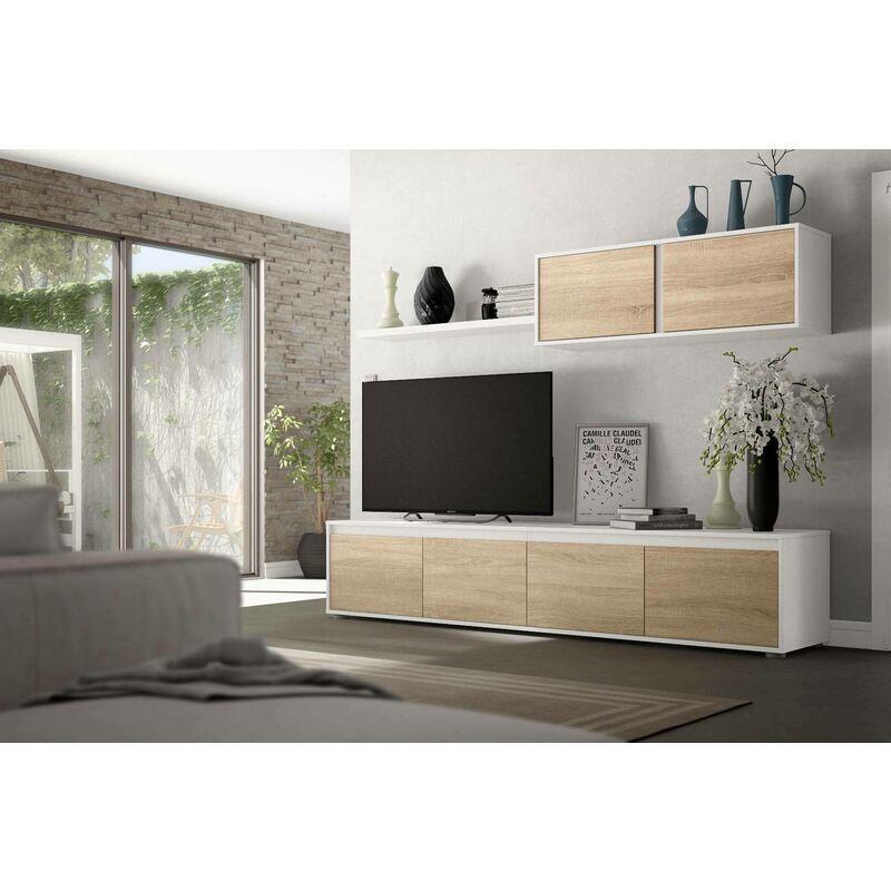 Dmora Wohnzimmer TV-Schrank, Farbe kanadische Eiche und arktik Weiß, 43 x 200 x 41 cm