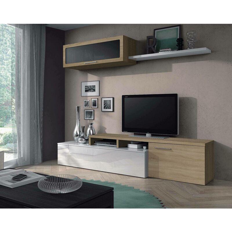 Dmora Wohnzimmer TV-Schrank mit Hängeschrank mit Glastür und Regal, Farbe Eiche und glänzendes Weiß, 44 x 200 x 41 cm