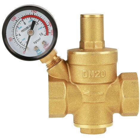DN20 Vanne de réduction de pression d'eau réglable en laiton avec Manomètre Compteur de pression, Réducteur réglable de pression d'eau en laiton (DN20)