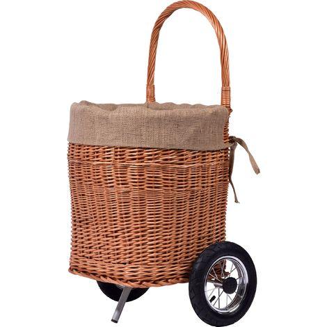 dobar pratico carrello portalegna in vimini semigreggio con ruote in metallo Stabile, pneumatici, Camino cestino di legno, marrone, 44x 40x 93cm