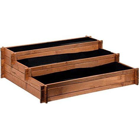 Dobar trois niveaux de plate-bande surélevée ``Pérou en bois Pin: Table de Construction Kit pour légumes, herbes, fleurs, facile à monter, marron, 110x 88x 36cm, 58180FSC