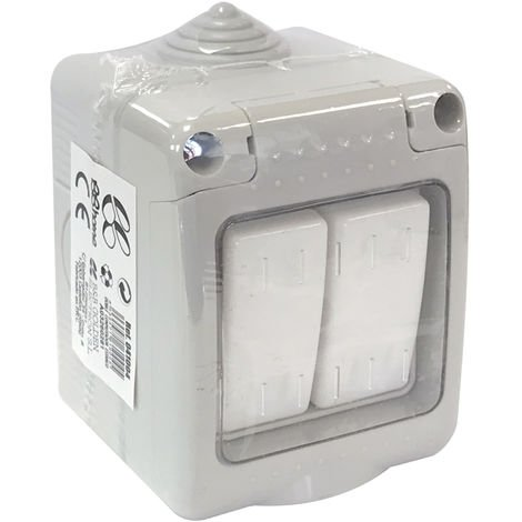 Doble conmutador estanco con tapa IP55 10A 250V (B&B 041004)