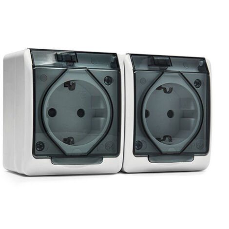 DOBLE ENCHUFE SCHUKO 16A-250V BLANCO