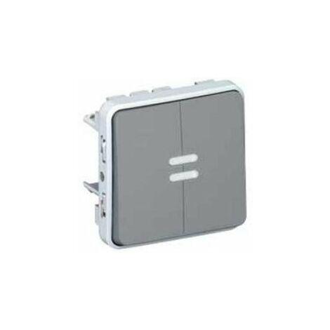 Doble Interruptor-conmutador luminoso Gris Legrand Plexo 069526