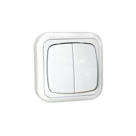 Doble interruptor de superficie 10A/250V~ Electro Dh 36.480/DI, color blanco, 8430552111527