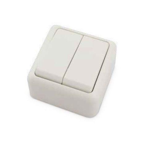 Doble interruptor superficie Blanco 60x60x30mm 10A 250V GSC 0201027