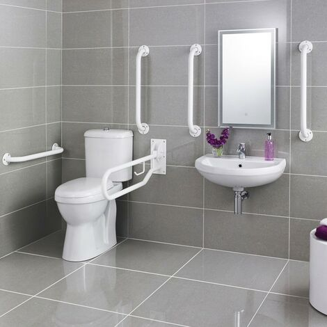Doc M Pack - Disabled Toilet, Basin & Grab Rails - White