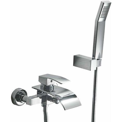 Doccia set soffione rubinetto doccia a cascata sistema staffa a muro e doccetta impostato per for Rubinetto vasca da bagno
