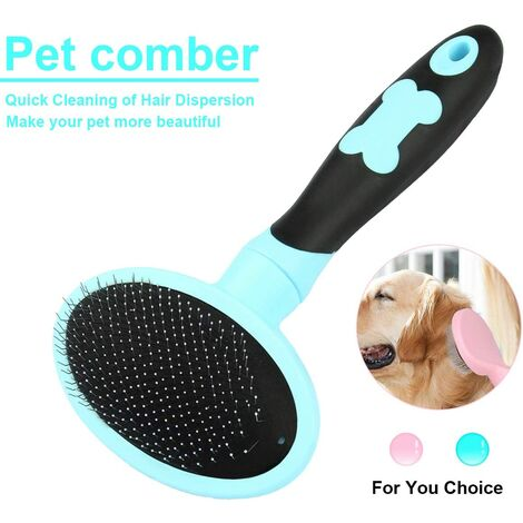 Dog and Cat Grooming Brush Dog and Cat Comb with Long and Short Bristles-Blue