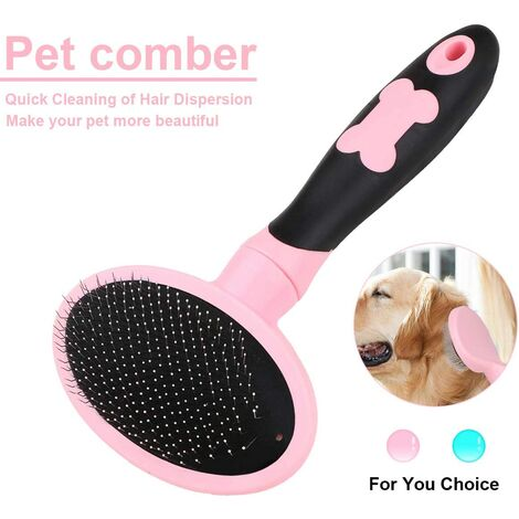 Dog and Cat Grooming Brush Dog and Cat Comb with Long and Short Bristles-Pink