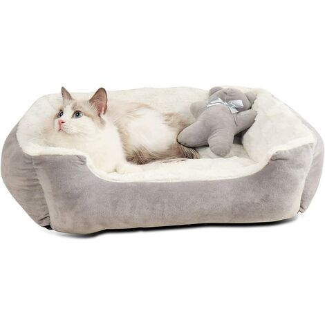 """main image of """"Dog Basket Medium Size Dog Calming Cushion Washable Cat Basket Indestructible Cat Cushion Plush Cat Bed (Gray 56 * 46 * 17cm)"""""""