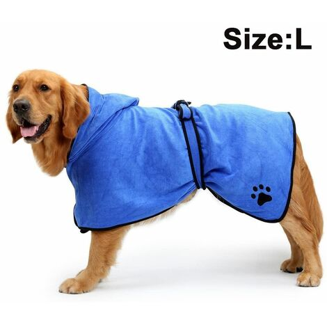 Dog Bathrobe Soft Super Absorbent Luxuriously Microfiber Dog Drying Towel Robe with Hood/Belt for Large,Medium,Small Dogs, blue, L