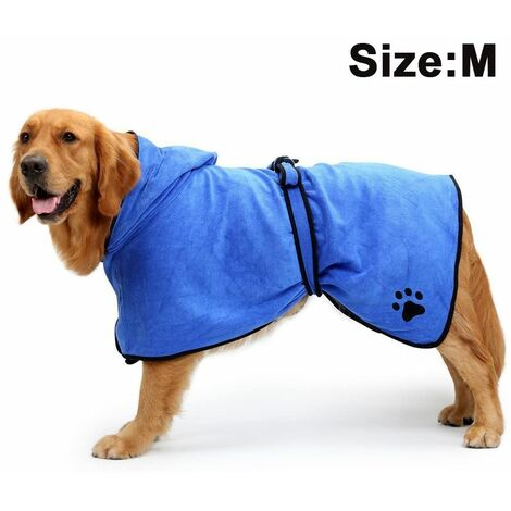 """main image of """"Dog Bathrobe Soft Super Absorbent Luxuriously Microfiber Dog Drying Towel Robe with Hood/Belt for Large,Medium,Small Dogs, blue, M"""""""