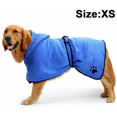 Dog Bathrobe Soft Super Absorbent Luxuriously Microfiber Dog Drying Towel Robe with Hood/Belt for Large,Medium,Small Dogs, blue, XS