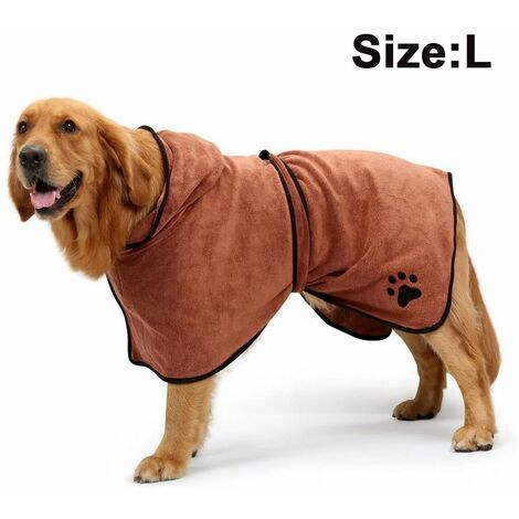Dog Bathrobe Soft Super Absorbent Luxuriously Microfiber Dog Drying Towel Robe with Hood/Belt for Large,Medium,Small Dogs, brown, L
