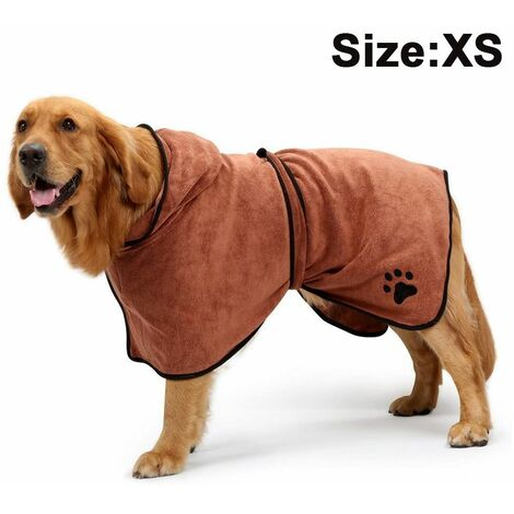 Dog Bathrobe Soft Super Absorbent Luxuriously Microfiber Dog Drying Towel Robe with Hood/Belt for Large,Medium,Small Dogs, brown, XS