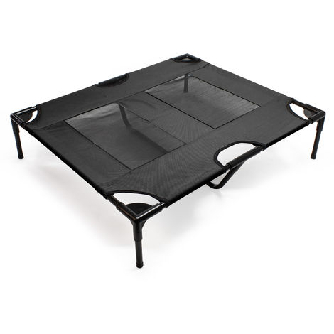 Dog Bed Pet Cot Elevated Outdoor Pet Lounger Black L 92x77x20cm max 25kg