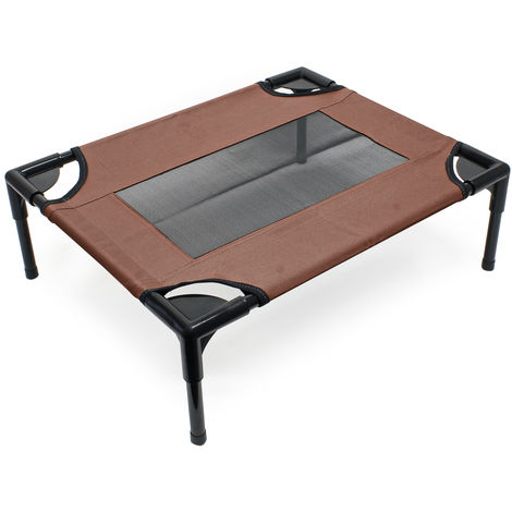 Dog Bed Pet Cot Elevated Outdoor Pet Lounger Brown S 61x49x20cmmax 15kg
