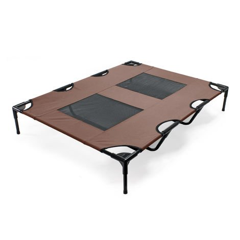 Dog Bed Pet Cot Elevated Outdoor Pet Lounger Brown XL 122x93x20cm max 30kg