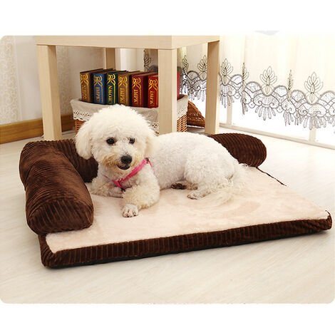 Dog Bed Soft Fleece Fur Cushion Warm Pet Basket Fluff Pad Corner Sofa Coffee 90 x 70 x20 cm