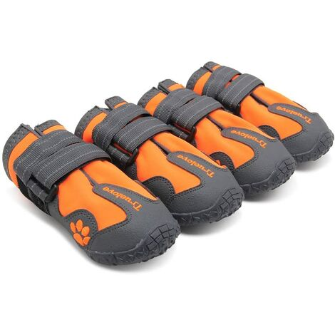 """main image of """"Dog Boots Waterproof Dog Shoes with Best Reflective Straps for Small Medium Large Dog Outdoor,Orange(#5)"""""""