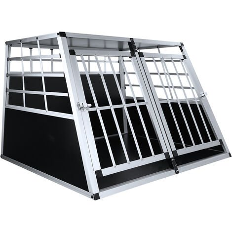 Dog cage 97 * 91 * 69.5cm large double door cage animal transport Aluminum cage in the car