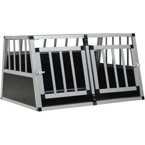 Dog Cage with Double Door 89x69x50 cm - Silver