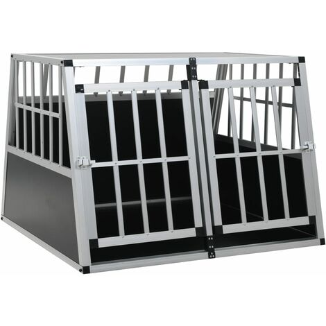 Dog Cage with Double Door 94x88x69 cm - Silver