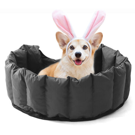 Dog Cat Pet Puppy Bed Waterproof Kennel Cushion Washable Removable Basket Grey 76x64x24 cm