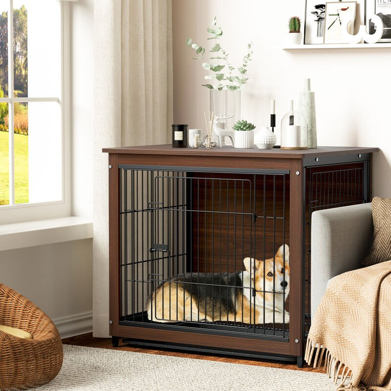 Image of Dog Crate Dual Doors Puppy Rabbit Cage Shelter Wooden Kennel Indoor End Table,Large