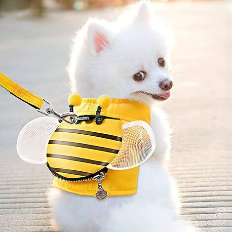 Dog Harness and Leash Set, PTN New Soft Mesh Nylon Vest, Little Honey Shape, Small Backpack with Zipper for Small Medium Dog M (6kg-9kg)