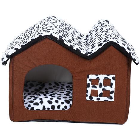 Dog Kennel Dog House Cushion Soft Milk Cow Animal Style 55x48x50cm