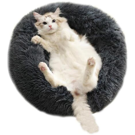 Dog kennel, round kennel, long fur kennel, donut-shaped dog bed, round bird nest, soft plush cat carpet, with cozy sponge slippid, suitable for small and medium-sized animals sleeping The interior in autumn, washable in dark gray machine (L) -
