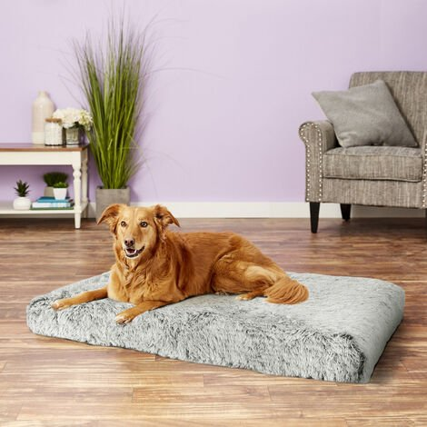 Dog Mat Mattress Bed Cushion Chew Resistant Washable Warm Pet Basket Grey XL(85 x 57 x 10cm)
